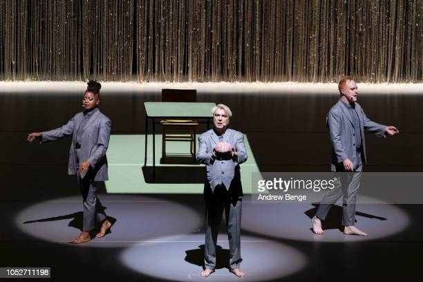 David Byrne performs on stage at First Direct Arena Leeds on October 21, 2018 in Leeds, England.