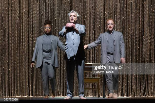 David Byrne performs on stage at The SSE Hydro on October 22 2018 in Glasgow Scotland