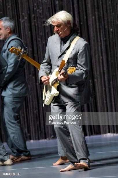 David Byrne performs on stage during the American Utopia tour at Teatro degli Arcimboldi on July 16 2018 in Milan Italy