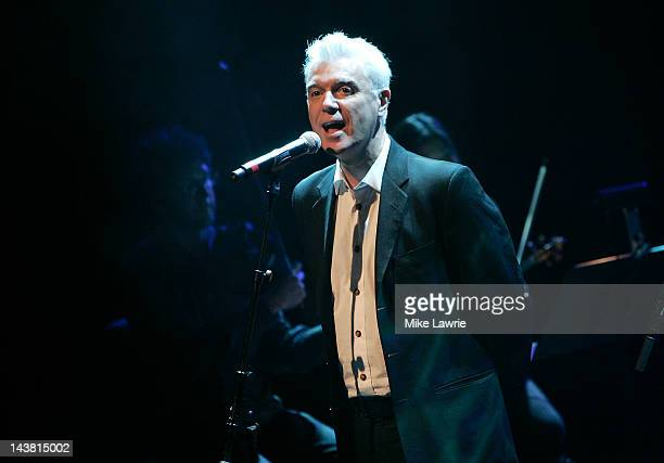 David Byrne performs with Jherek Bischoff during the 2012 Crossing Brooklyn Ferry Festival at the Brooklyn Academy of Music on May 3 2012 in the...