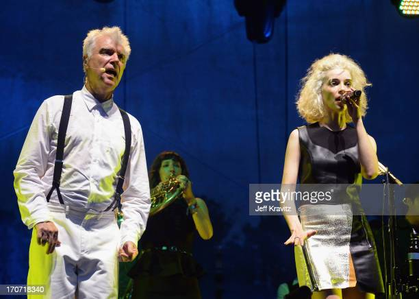 David Byrne St Vincent perform onstage at Which Stage during day 4 of the 2013 Bonnaroo Music Arts Festival on June 16 2013 in Manchester Tennessee