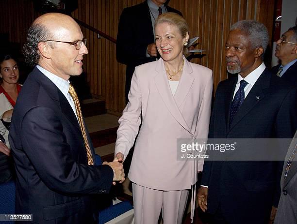 David C McCourt Chairman and CEO RCN Corporation greets United Nations SecretaryGeneral Kofi Annan and his wife Nane Annan