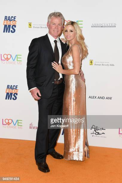 David C Meyer and Camille Grammer attend the 25th Annual Race To Erase MS Gala at The Beverly Hilton Hotel on April 20 2018 in Beverly Hills...