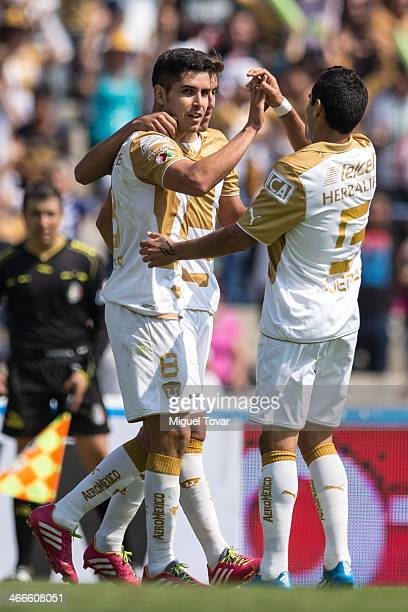 David Cabrera of Pumas celebrates a scored goal against Xolos during a match between Pumas UNAM and Tijuana as part of the Clausura 2014 Liga MX at...