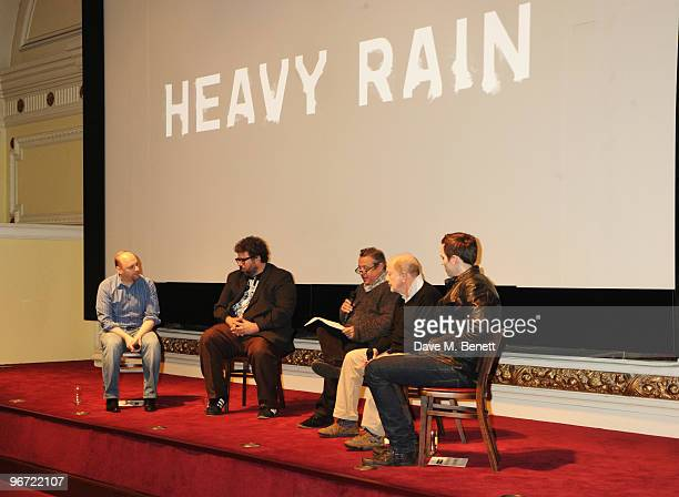 David Cage, Neil LaBute, Hamish McAlpine, Nicolas Roeg and Nicholas Hoult attend the launch of 'Heavy Rain' for PlayStation 3 at The Electric Cinema...