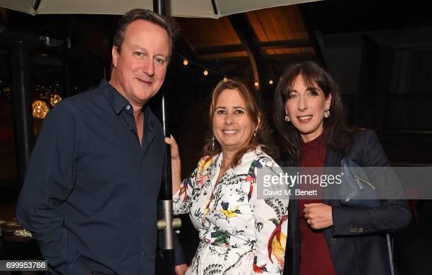 David Cameron Alexandra Shulman and Samantha Cameron attend British Vogue editor Alexandra Shulman's leaving party at Dock Kitchen on June 22 2017 in...