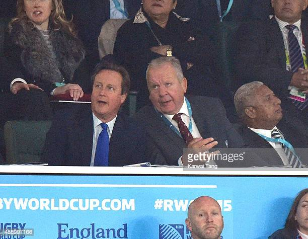 David Cameron and Bill Beaumont attend the Opening Ceremony and first match of the Rugby World Cup 2015 between England and Fiji at Twickenham...