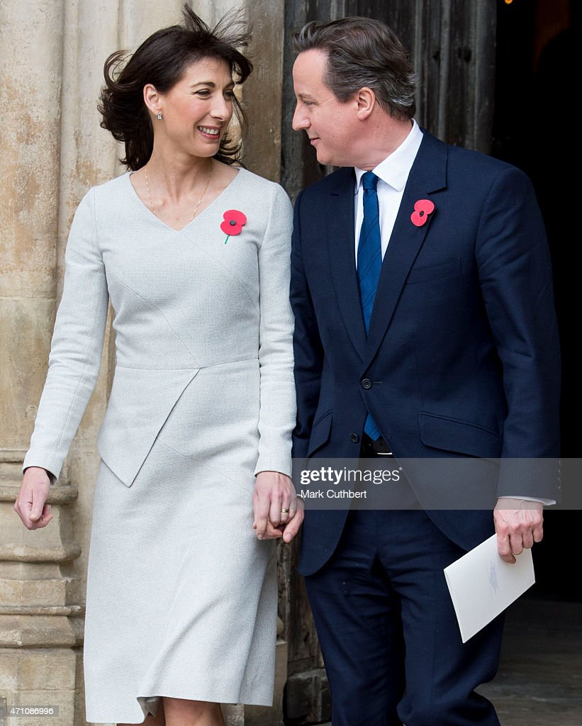 David Cameron and Samantha Cameron attend a Service of Commemoration and Thanksgiving to mark the ANZAC Landings at Westminster Abbey on April 25, 2015 in London, England.