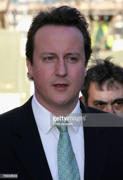 David Cameron arrives at Christ Church Kensington for the wedding of Alan Parker and Jane Hardman on March 9 2007 in London England Gordon Brown also...