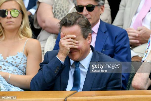 David Cameron attends day five of the Wimbledon Tennis Championships at the All England Lawn Tennis and Croquet Club on July 6, 2018 in London,...