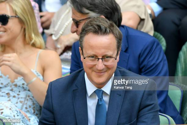 David Cameron attends day five of the Wimbledon Tennis Championships at the All England Lawn Tennis and Croquet Club on July 6 2018 in London England