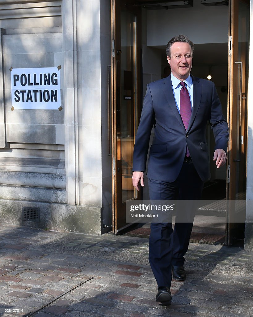 David Cameron casts his vote in the London Mayoral Election on May 05, 2016 in London, England. This is the fifth mayoral election since the position was created in 2000. Previous London Mayors are Ken Livingstone for Labour and more recently Boris Johnson for the Conservatives. The main candidates for 2016 are Sadiq Khan, Labour, Zac Goldsmith , Conservative, Sian Berry, Green, Caroline Pidgeon, Liberal Democrat, George Galloway, Respect, Peter Whittle, UKIP and Sophie Walker, Woman's Equality Party. Results will be declared on Friday 6th May.
