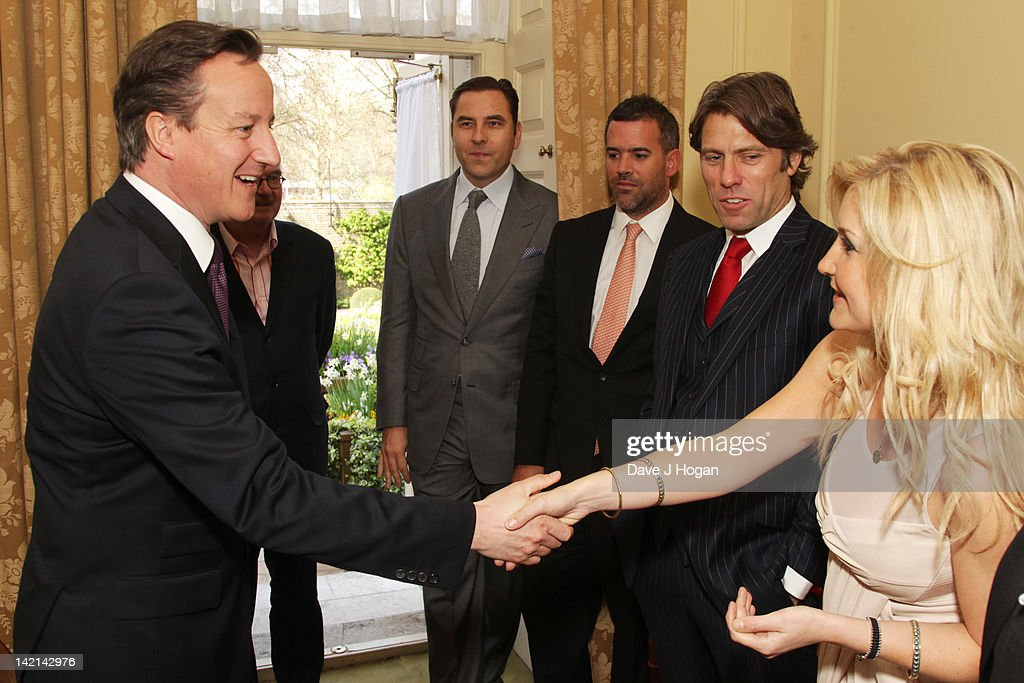 L-R David Cameron, David Walliams, Adam Brown, John Bishop and Helen Skelton attend a tea reception to congratulate Sport Relief 2012 celebrity challengers at No. 10 Downing Street on March 30, 2012 in London, England.