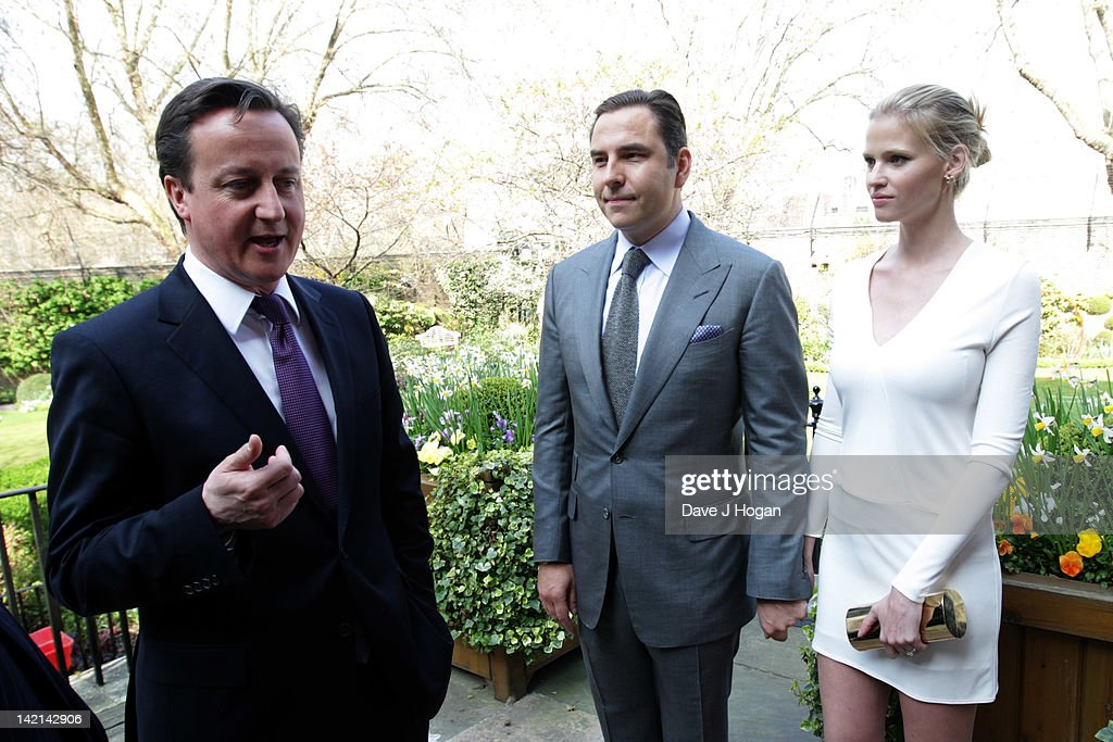 L-R David Cameron, David Walliams and Lara Stone attend a tea reception to congratulate Sport Relief 2012 celebrity challengers at No. 10 Downing Street on March 30, 2012 in London, England.