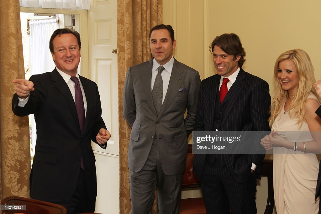 L-R David Cameron, David Walliams, John Bishop and Helen Skelton attend a tea reception to congratulate Sport Relief 2012 celebrity challengers at No. 10 Downing Street on March 30, 2012 in London, England.