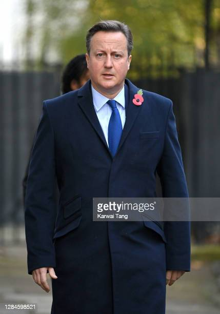 David Cameron, former Prime Minister of the United Kingdom attends the National Service of Remembrance at The Cenotaph on November 08, 2020 in...