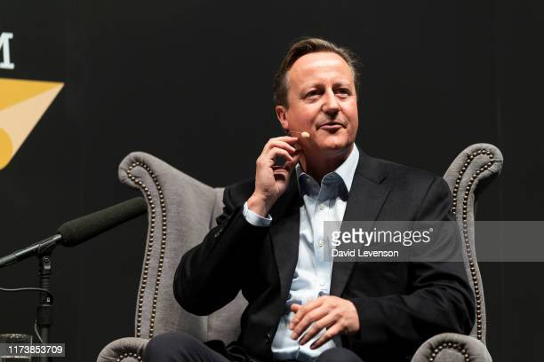 David Cameron, former UK Prime Minister, discusses his new memoir, 'For the Record' at the Cheltenham Literature Festival 2019 on October 5, 2019 in...