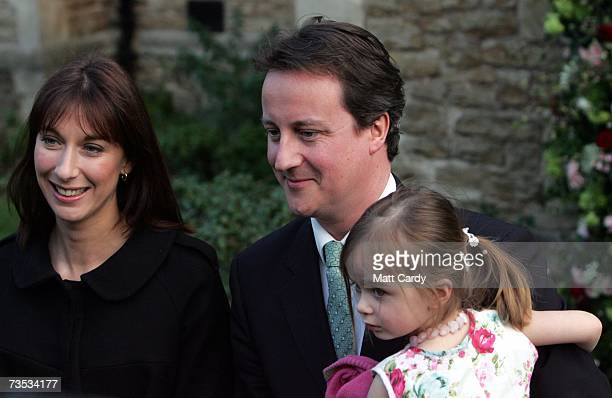 David Cameron his wife Samantha and daugher Nancy leave the wedding of Alan Parker and Jane Hardman at Christ Church Kensington on March 9 2007 in...