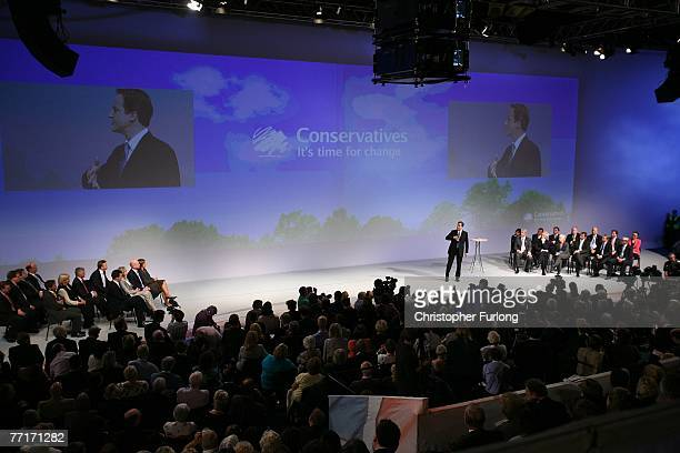 David Cameron leader of the Conservative Party gives his keynote speech to delegates on the last day of the 2007 Conservative Conference at...