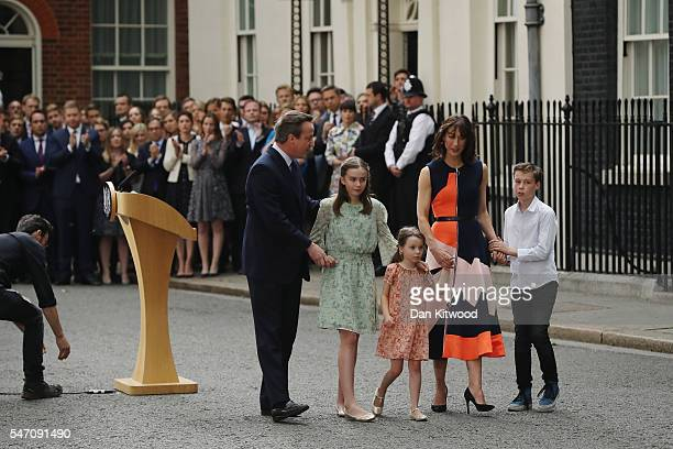 David Cameron leaves 10 Downing Street with his wife Samantha and their children Nancy Arthur and Florence on July 13 2016 in London England David...