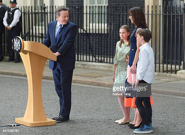 David Cameron leaves 10 Downing Street with Samantha and the children on July 13 2016 in London England David Cameron leaves Downing Street today...