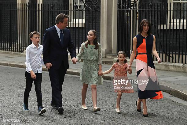 David Cameron leaves Downing Street for the last time with his wife Samantha Cameron and children Nancy Cameron Arthur Cameron and Florence Cameron...