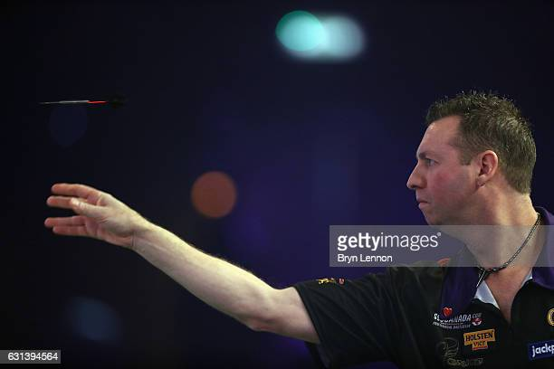 David Cameron of Canada in action during his first round match on day four of the BDO Lakeside World Professional Darts Championships on January 10...