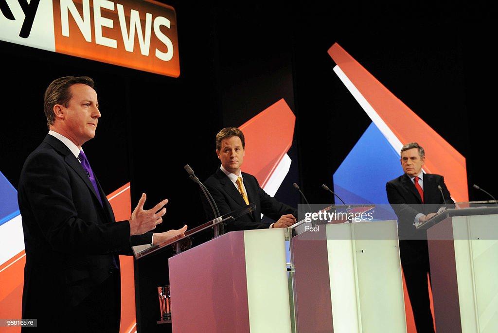 David Cameron (L) of the Conservative Party and Nick Clegg (C) of the Liberal Democrats Party and Gordon Brown (R) of the Labour Party, partake in the live second televised election debate on April 15, 2010 in Bristol, United Kingdom. Britain for the first time is televising three political debates live, reminiscent of the U.S. style of debates. The second of the three planned election debates, focuses on global affairs, airing live on Sky News from 20:00 BST.