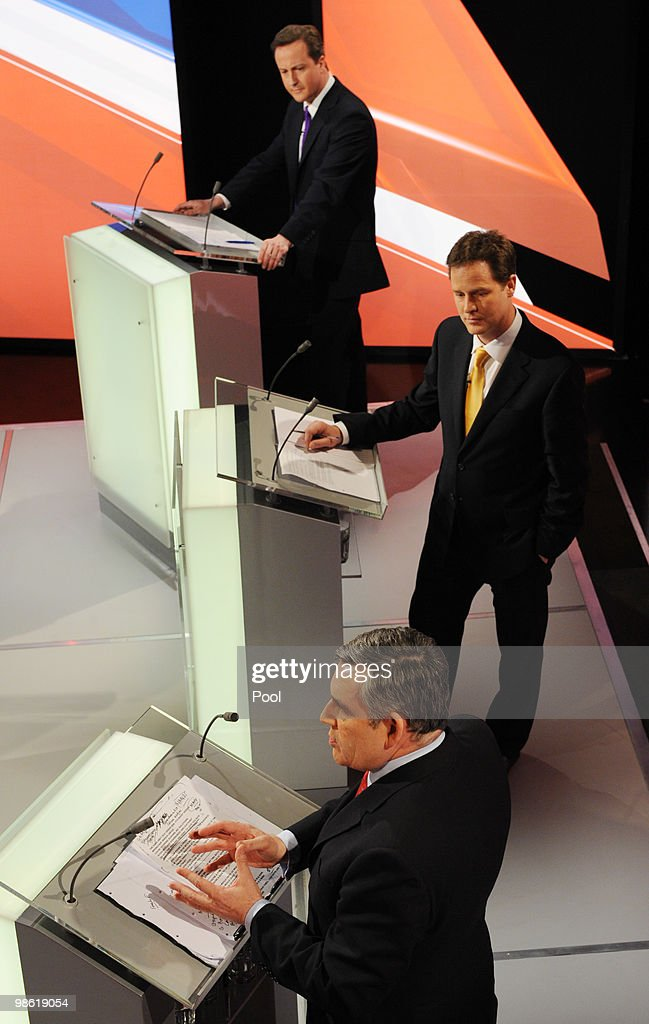 David Cameron (top) of the Conservative Party and Nick Clegg (C) of the Liberal Democrats Party and Gordon Brown (bottom) of the Labour Party, partake in the live second televised election debate on April 15, 2010 in Bristol, United Kingdom. Britain for the first time is televising three political debates live, reminiscent of the U.S. style of debates. The second of the three planned election debates, focuses on global affairs, airing live on Sky News from 20:00 BST.