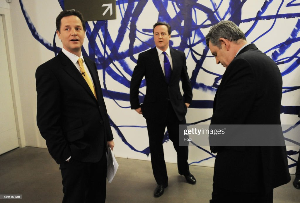 David Cameron (C) of the Conservative Party and Nick Clegg (L) of the Liberal Democrats Party and Gordon Brown (R) of the Labour Party prepare moments before the live second televised election debate on April 15, 2010 in Bristol, United Kingdom. Britain for the first time is televising three political debates live, reminiscent of the U.S. style of debates. The second of the three planned election debates, focuses on global affairs, airing live on Sky News from 20:00 BST.