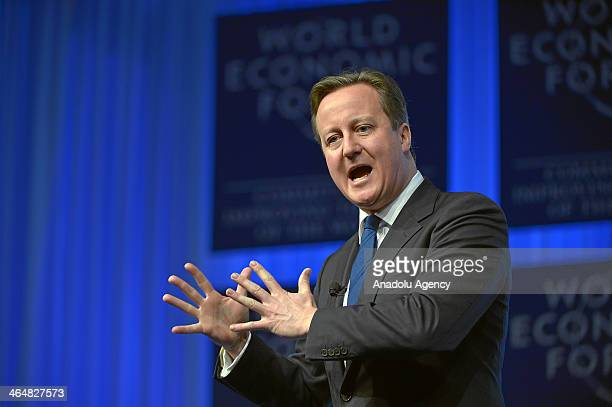 David Cameron Prime Minister of the United Kingdom addresses the participants during the Annual Meeting 2014 of the World Economic Forum at the...