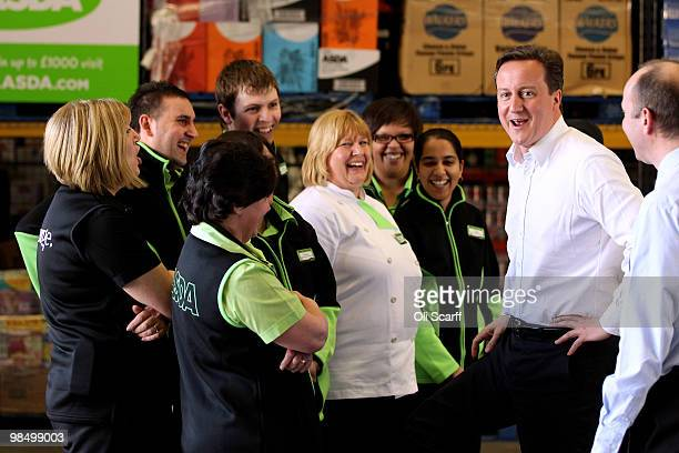 David Cameron the leader of the Conservative party visits an ASDA supermarket on April 16 2010 in Wolverhampton England The leaders of the three main...