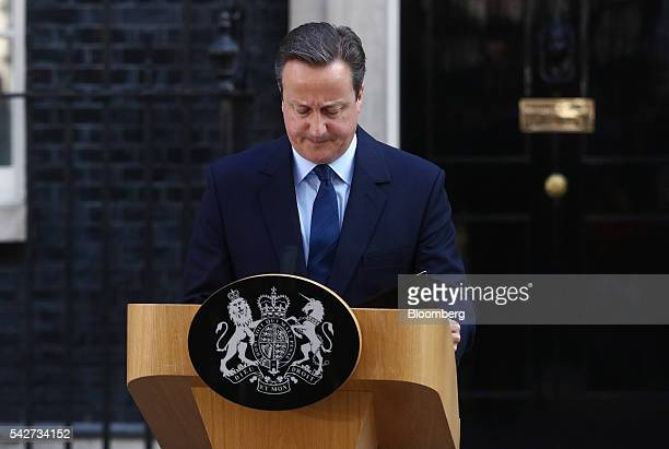 David Cameron UK prime minister and leader of the Conservative Party reacts after delivering his resignation speech in Downing Street following the...