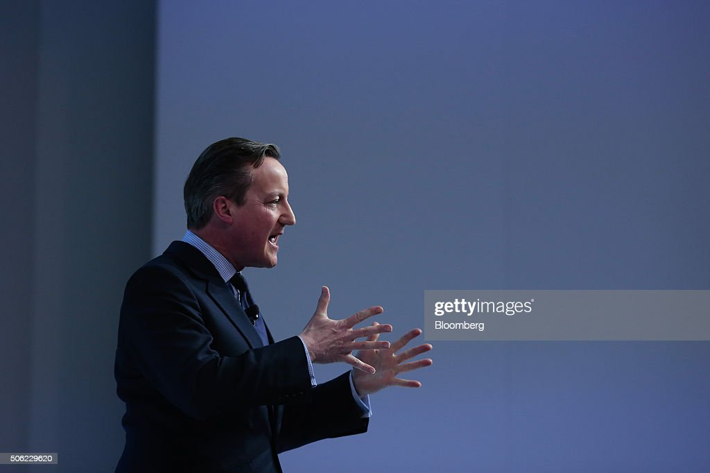 David Cameron, U.K. prime minister, gestures as he speaks during a special session at the World Economic Forum (WEF) in Davos, Switzerland, on Thursday, Jan. 21, 2016. World leaders, influential executives, bankers and policy makers attend the 46th annual meeting of the World Economic Forum in Davos from Jan. 20 - 23. Photographer: Jason Alden/Bloomberg via Getty Images