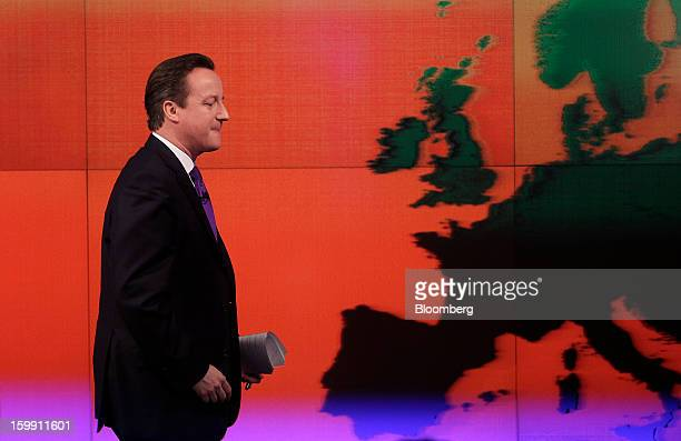 David Cameron UK prime minister passes a map of Europe after delivering a speech at the Bloomberg LP offices in London UK on Wednesday Jan 23 2013...