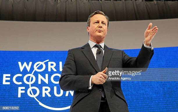 David Cameron UK prime minister speaks during a session at the World Economic Forum in Davos Switzerland on January 21 2016