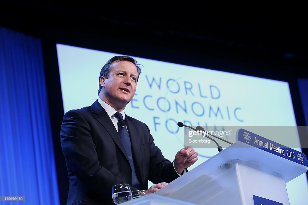 David Cameron, U.K. prime minister, speaks during a session on day two of the World Economic Forum (WEF) in Davos, Switzerland, on Thursday, Jan. 24, 2013. World leaders, influential executives, bankers and policy makers attend the 43rd annual meeting of the World Economic Forum in Davos, the five day event runs from Jan. 23-27. Photographer: Chris Ratcliffe/Bloomberg via Getty Images