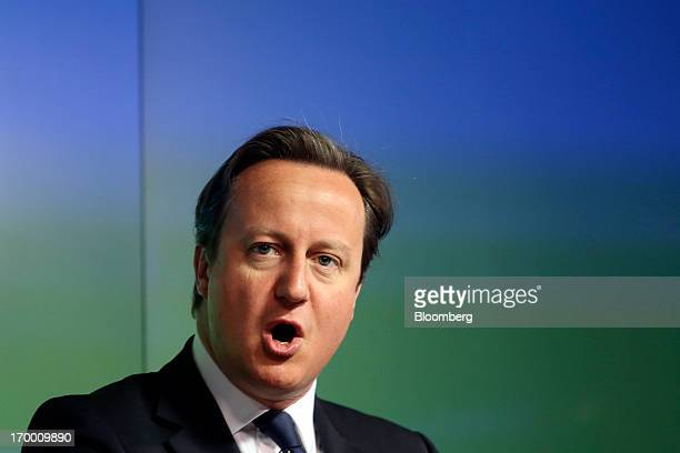 David Cameron UK prime minister speaks during the G8 social impact investment forum at Bloomberg LP's offices in London UK on Thursday June 6 2013...