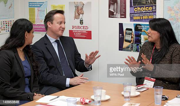 David Cameron with Aneeta Prem of the Freedom Charity and Jasvinder Sanghera of Karwia Nirvana during a meeting with the Forced Marriage Unit at the...
