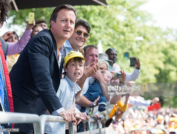 David Cameron with his son at the finish line of stage one of The Tour de France on July 5 2014 in Harrogate England