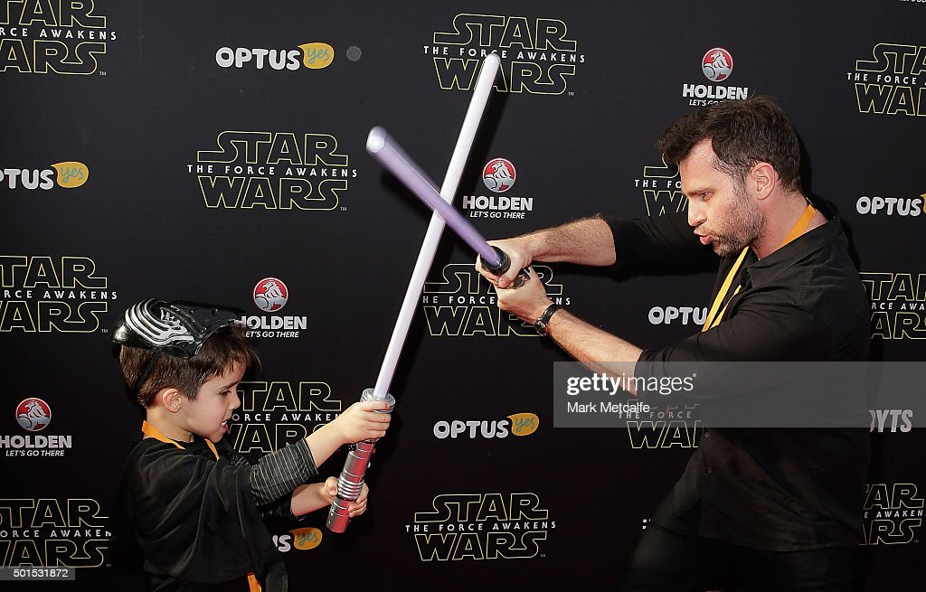 David Campbell and his son Leo arrive ahead of the 'Star Wars: The Force Awakens' Australian premiere on December 16, 2015 in Sydney, Australia.