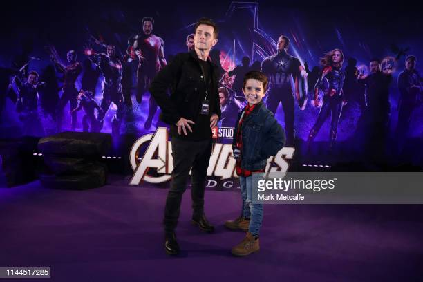 David Campbell and Leo Campbell attend the Sydney screening of Avengers End Game at Hoyts Entertainment Quarter on April 23 2019 in Sydney Australia