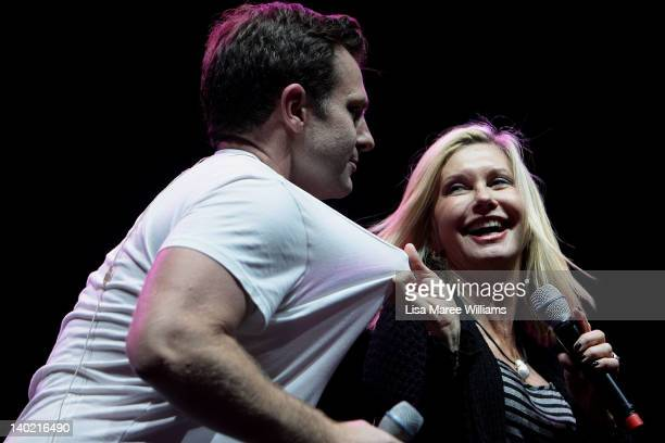 David Campbell joins Olivia NewtonJohn during rehearsals ahead of her upcoming performances with the Sydney Symphony at the Sydney Opera House on...