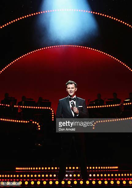 David Campbell performs the role of Bobby Darin during a media preview of Dream Lover - The Bobby Darin Musical at Lyric Theatre, Star City on...