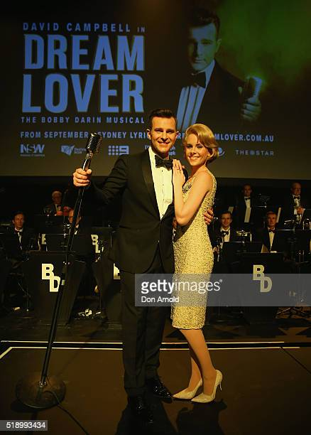 David Campbell poses alongside Hannah Frederickson during the cast announcemnt for Dream Lover The Bobby Darrin Musical at Lyric Theatre Star City on...