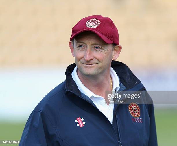 David Capel the Northants head coach looks on during a net session held during the Northamptonshire CCC media day on April 2 2012 in Northampton...