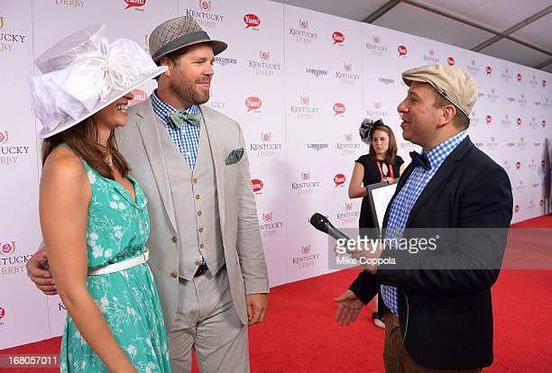 David Caplan journalist for gossipdavidcom interviews David Denman and Mercedes Masohn on the red carpet at the 139th Kentucky Derby at Churchill...