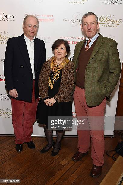 David Cardale Aleen Gulvanessian and Neil MacCormick attend ActionAid's Tea and Inspiration charity fundraising event at Gravetye Manor on March 20...