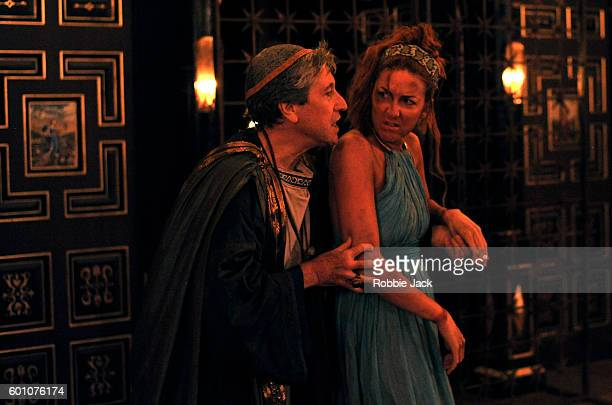 David Cardy as Thrysullus and Jessie Lilley as Helen in John Wolfson's The Inn at Lydda directed by Andy Jordan at The Sam Wanamaker Playhouse at...