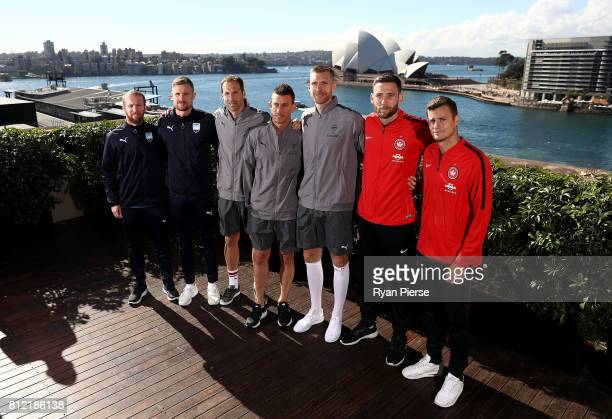 David Carney and Andrew Redmayne of Sydney FC Petr Cech Laurent Koscielny and Per Mertesacker of Arsenal Robbie Cornthwaite and Oriol Riera of...